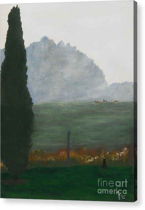 Landscape Acrylic Print featuring the painting In The Morning Mist by Heather Chandler