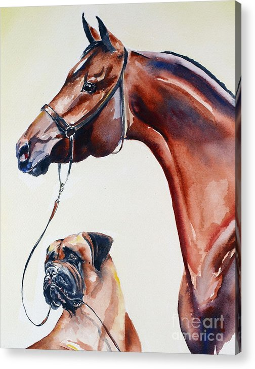 Horse Acrylic Print featuring the painting The Arab And The Englishman by Adele Pfenninger
