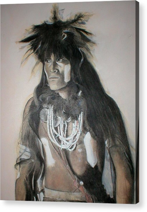 Hopi Acrylic Print featuring the painting Hopi Snake Priest by Terri Ana Stokes