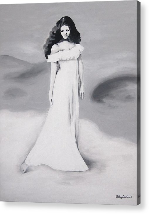 Girl Acrylic Print featuring the painting Sandy Beach On Lake Swan by Judy Swerlick