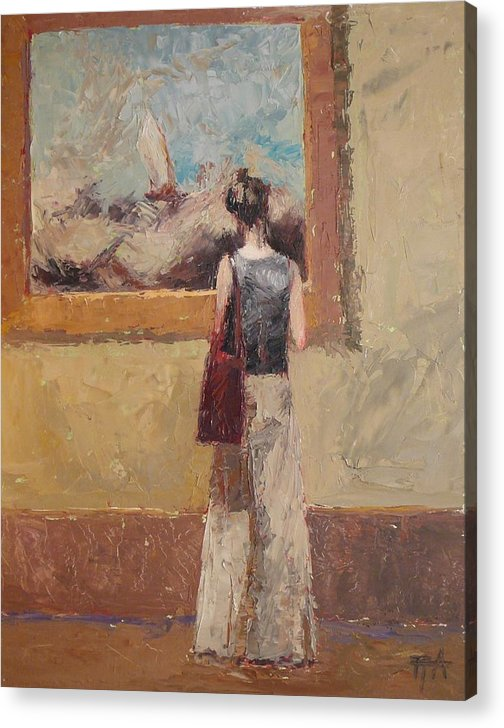 Girl Acrylic Print featuring the painting Admiring Turner by Irena Jablonski