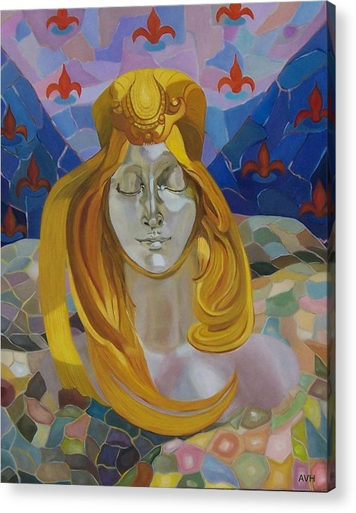 Figurative Acrylic Print featuring the painting Born-after Mucha by Antoaneta Melnikova- Hillman