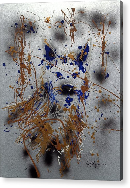Impressionist Painting Acrylic Print featuring the mixed media The Lone Wolf Canis Lupus by J R Seymour