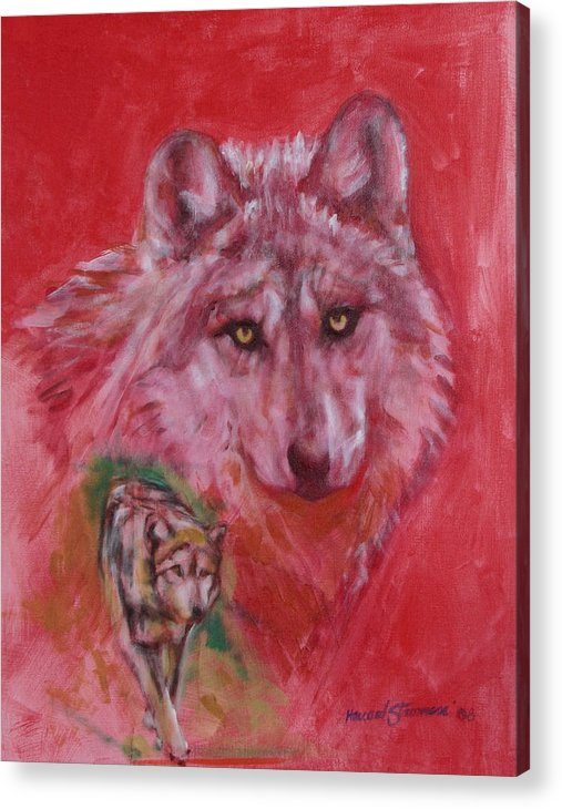 Bbkexperi Acrylic Print featuring the painting Wolf by Howard Stroman