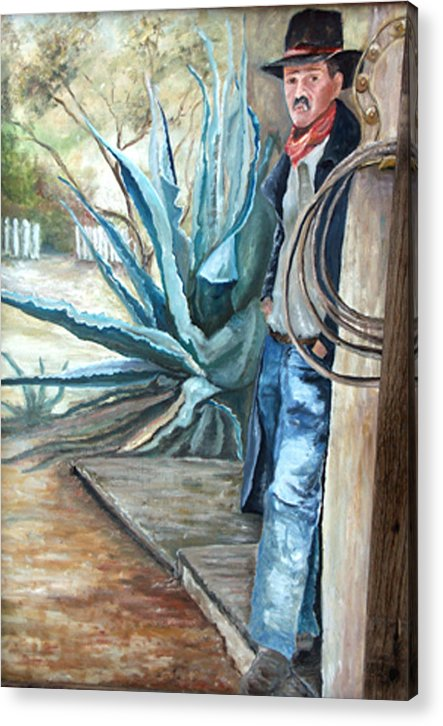 Cowboy Acrylic Print featuring the painting Cowboy by CJ Rider
