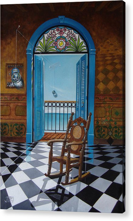 Spheres Acrylic Print featuring the painting El Sillon De Abuelita by Roger Calle
