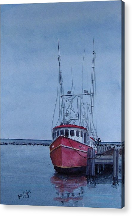 Fishing Trawler Acrylic Print featuring the painting Provincetown Portuguese by Haldy Gifford