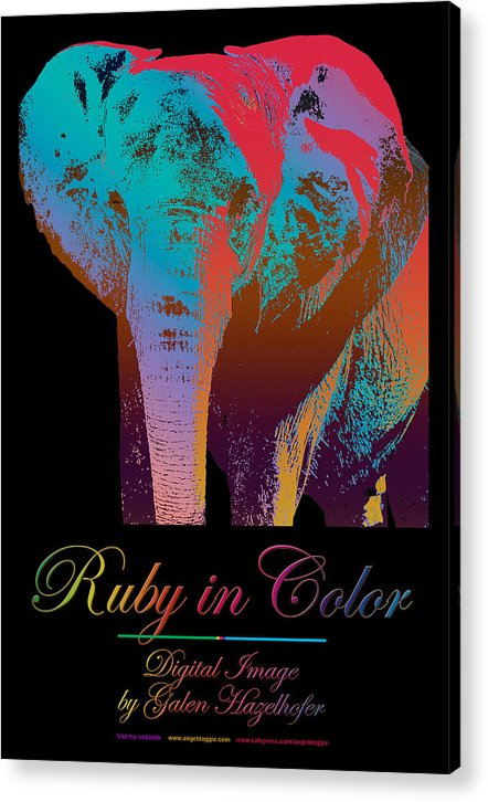 Elephant Acrylic Print featuring the digital art Ruby In Color by Galen Hazelhofer