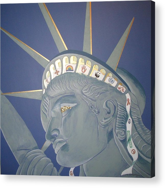 Human Acrylic Print featuring the painting Remember her primary meaning... by Ingrid Stiehler