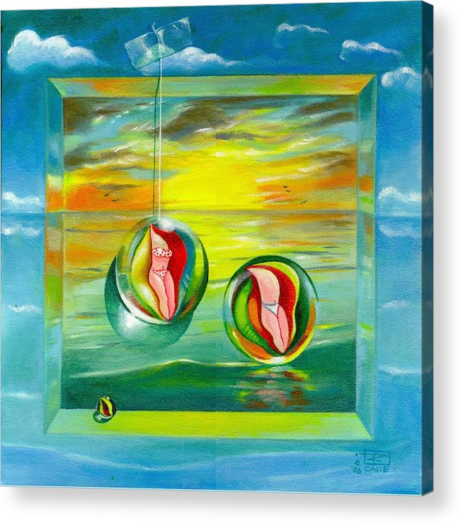 Surrealism Acrylic Print featuring the painting Strollin Miami Beach at Sunset by Roger Calle