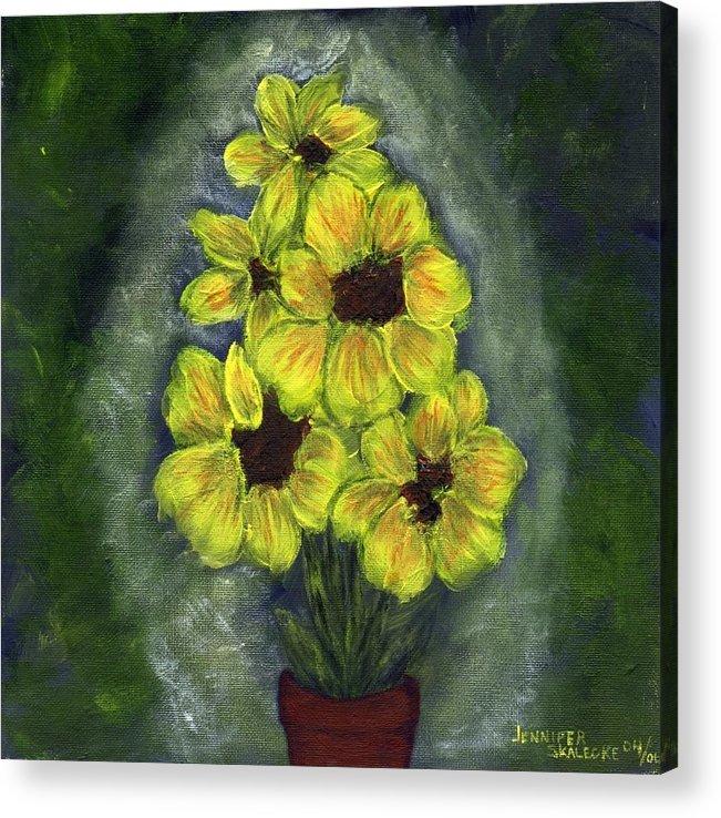 Flowers Acrylic Print featuring the painting Sunflower Season - www.jennifer-d-art.com by Jennifer Skalecke