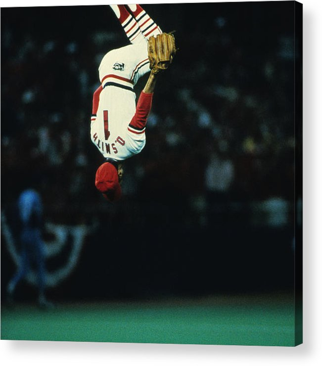 St. Louis Cardinals Acrylic Print featuring the photograph Ozzie Smith by Ronald C. Modra/sports Imagery