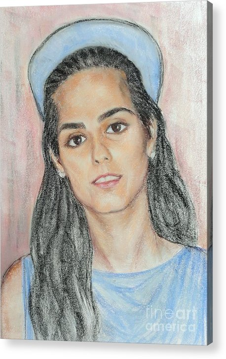 Portrait Acrylic Print featuring the painting Girl With A Blue Cap by Ziba Bastani