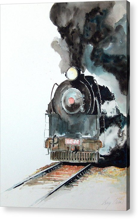 Trains Acrylic Print featuring the painting Smokin by Greg Clibon