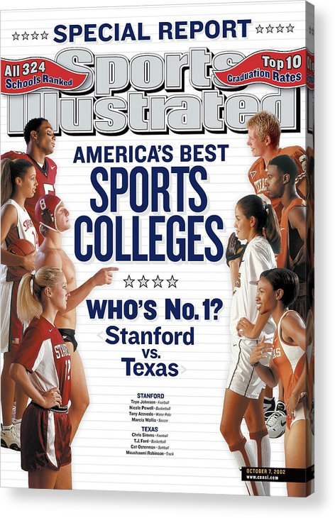 Magazine Cover Acrylic Print featuring the photograph Americas Best Sports Colleges Whos No. 1 Stanford Vs Texas Sports Illustrated Cover by Sports Illustrated