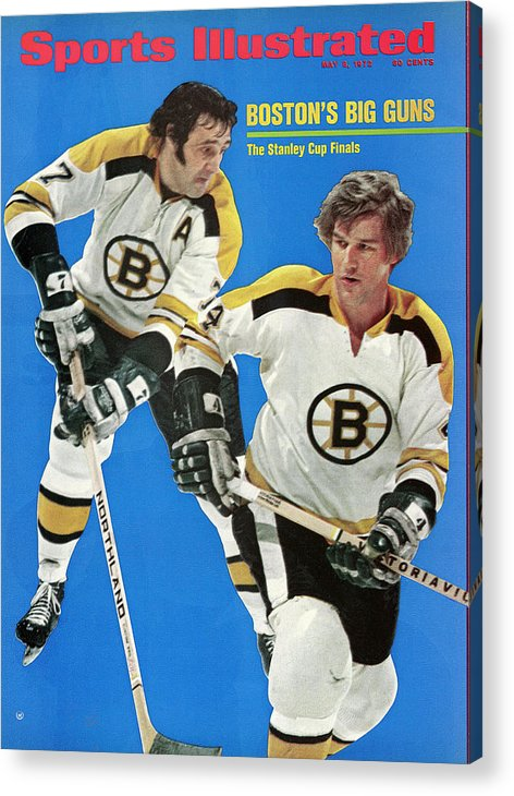 Playoffs Acrylic Print featuring the photograph Boston Bruins Phil Esposito And Bobby Orr, 1972 Nhl Sports Illustrated Cover by Sports Illustrated