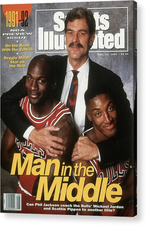 Chicago Bulls Acrylic Print featuring the photograph Chicago Bulls Coach Phil Jackson, Michael Jordan, And Sports Illustrated Cover by Sports Illustrated