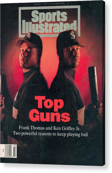 Magazine Cover Acrylic Print featuring the photograph Chicago White Sox Frank Thomas And Seattle Mariners Ken Sports Illustrated Cover by Sports Illustrated