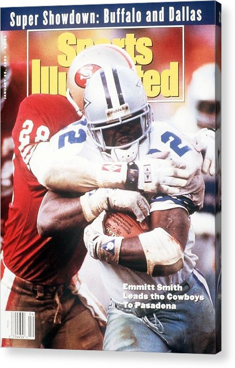 Playoffs Acrylic Print featuring the photograph Dallas Cowboys Emmitt Smith, 1993 Nfc Championship Sports Illustrated Cover by Sports Illustrated