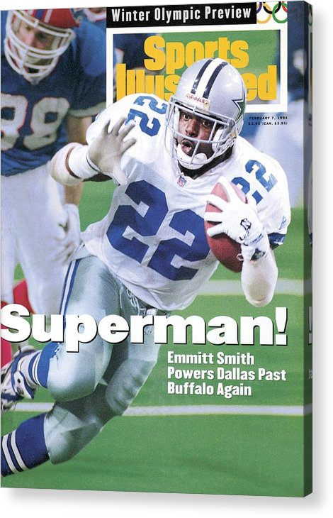 Atlanta Acrylic Print featuring the photograph Dallas Cowboys Emmitt Smith, Super Bowl Xxviii Sports Illustrated Cover by Sports Illustrated