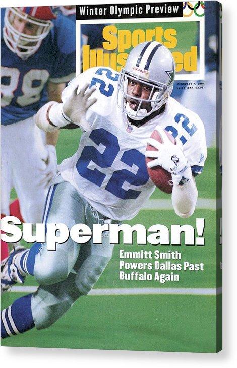 Atlanta Acrylic Print featuring the photograph Dallas Cowboys Emmitt Smith, Super Bowl Xxviii Sports Illustrated Cover by Sports Illustrated
