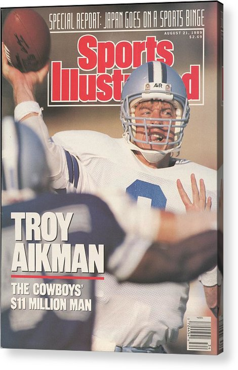Magazine Cover Acrylic Print featuring the photograph Dallas Cowboys Qb Troy Aikman... Sports Illustrated Cover by Sports Illustrated