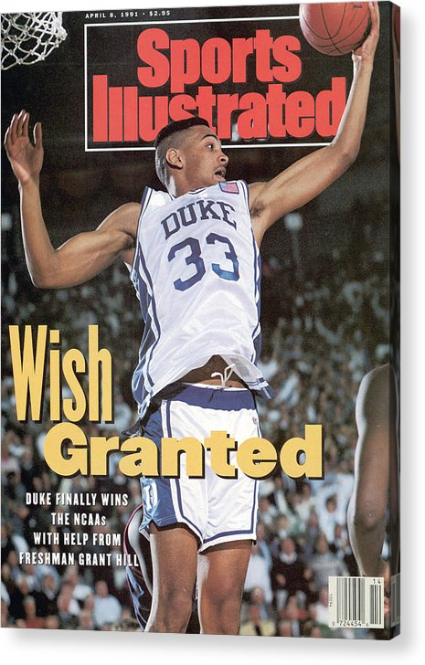 Sports Illustrated Acrylic Print featuring the photograph Duke University Grant Hill, 1991 Ncaa National Championship Sports Illustrated Cover by Sports Illustrated