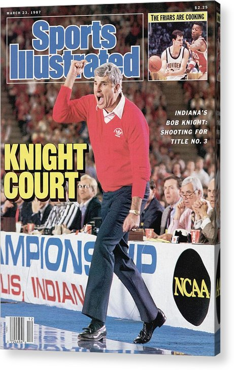 Magazine Cover Acrylic Print featuring the photograph Indiana University Coach Bob Knight, 1987 Ncaa Midwest Sports Illustrated Cover by Sports Illustrated