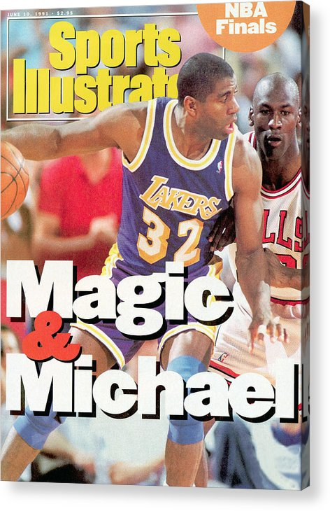 Playoffs Acrylic Print featuring the photograph Los Angeles Lakers Magic Johnson, 1991 Nba Finals Sports Illustrated Cover by Sports Illustrated