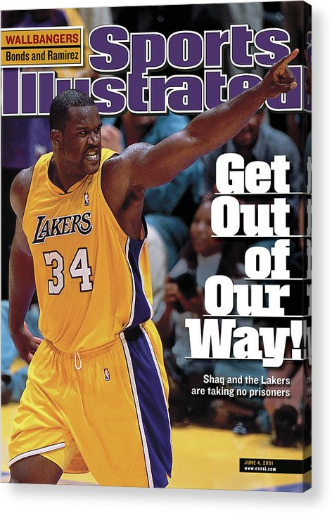 Magazine Cover Acrylic Print featuring the photograph Los Angeles Lakers Shaquille Oneal, 2001 Nba Western Sports Illustrated Cover by Sports Illustrated