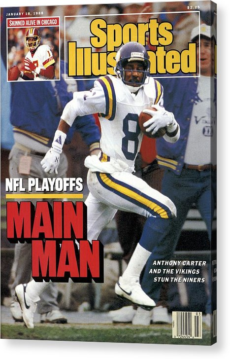 Candlestick Park Acrylic Print featuring the photograph Minnesota Vikings Anthony Carter, 1988 Nfc Divisional Sports Illustrated Cover by Sports Illustrated