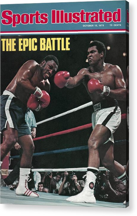 Joe Frazier Acrylic Print featuring the photograph Muhammad Ali, 1975 Wbcwba Heavyweight Title Sports Illustrated Cover by Sports Illustrated