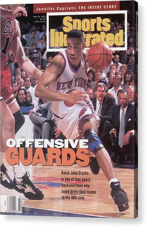 Chicago Bulls Acrylic Print featuring the photograph New York Knicks John Starks, 1994 Nba Eastern Conference Sports Illustrated Cover by Sports Illustrated