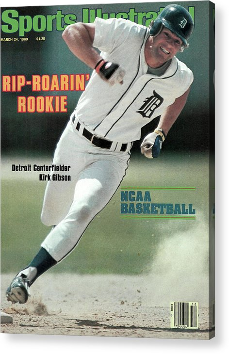 Magazine Cover Acrylic Print featuring the photograph Rip-roarin Rookie Detroit Centerfielder Kirk Gibson Sports Illustrated Cover by Sports Illustrated