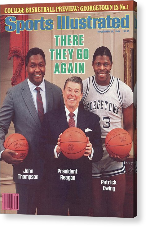 1980-1989 Acrylic Print featuring the photograph Ronald Reagan With Georgetown University Coach John Sports Illustrated Cover by Sports Illustrated