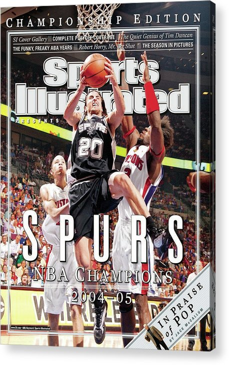 Playoffs Acrylic Print featuring the photograph San Antonio Spurs Manu Ginobili, 2005 Nba Finals Sports Illustrated Cover by Sports Illustrated