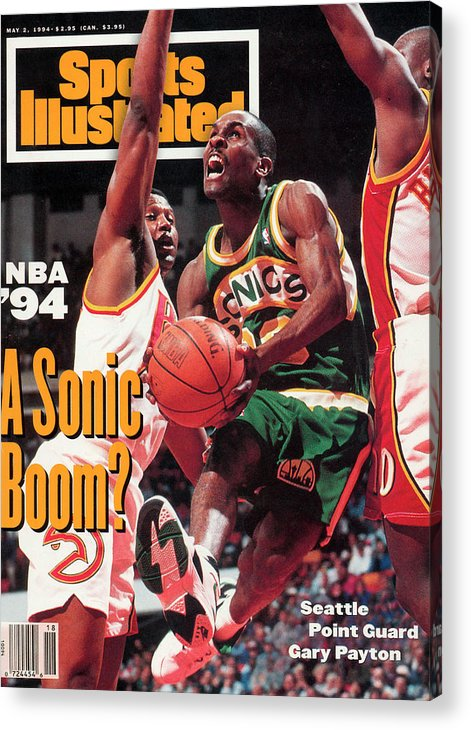 Atlanta Acrylic Print featuring the photograph Seattle Supersonics Gary Payton... Sports Illustrated Cover by Sports Illustrated