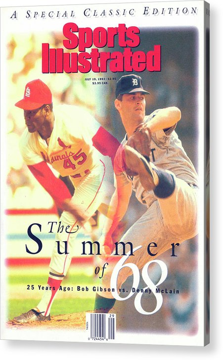 St. Louis Cardinals Acrylic Print featuring the photograph St. Louis Cardinals Bob Gibson And Detroit Tigers Denny Sports Illustrated Cover by Sports Illustrated