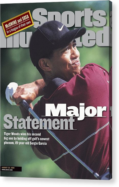 Magazine Cover Acrylic Print featuring the photograph Tiger Woods, 1999 Pga Championship Sports Illustrated Cover by Sports Illustrated