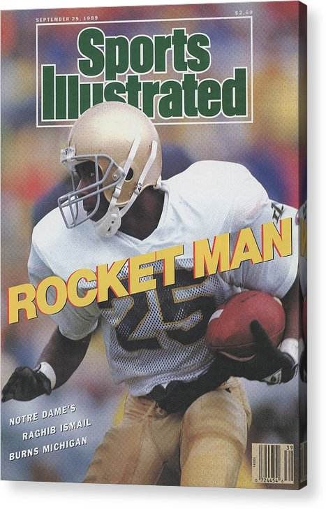 1980-1989 Acrylic Print featuring the photograph University Of Notre Dame Rocket Ismail Sports Illustrated Cover by Sports Illustrated