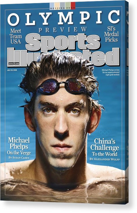The Olympic Games Acrylic Print featuring the photograph Usa Michael Phelps, 2008 Beijing Olympic Games Preview Sports Illustrated Cover by Sports Illustrated