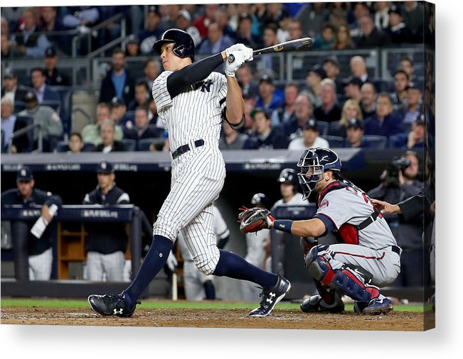 Playoffs Acrylic Print featuring the photograph American League Wild Card Game - Minnesota Twins v New York Yankees by Al Bello