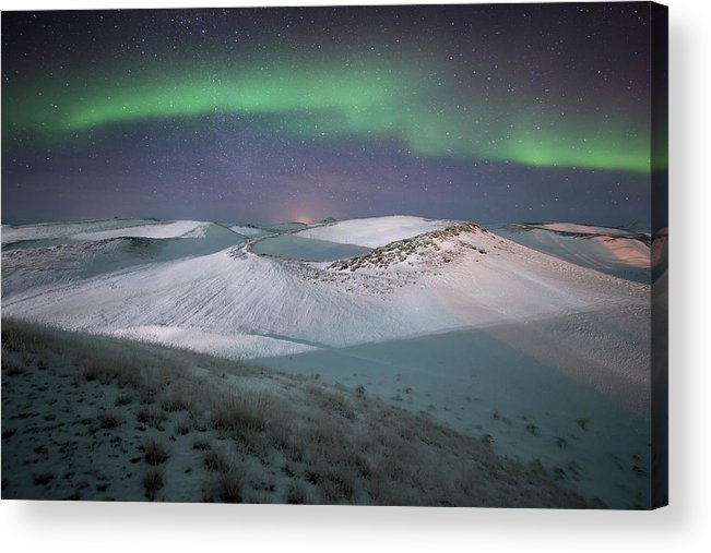 Scenics Acrylic Print featuring the photograph Aurora, Myvatn, Iceland by David Clapp