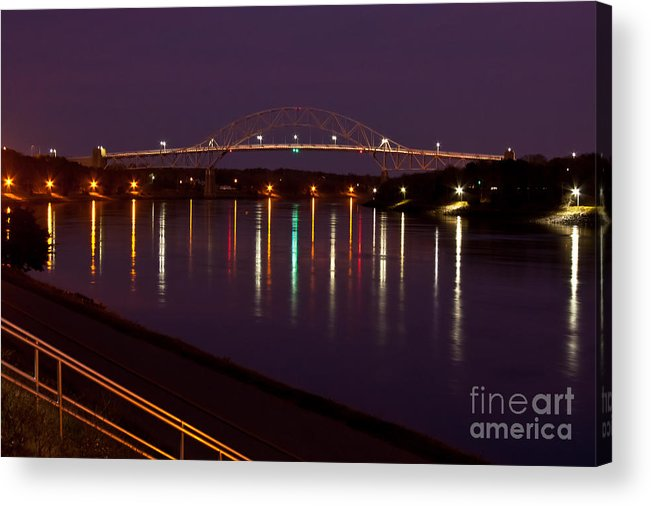 Water Acrylic Print featuring the photograph Canal At Night by Wayne Valler