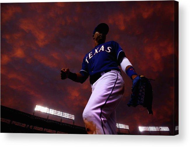 American League Baseball Acrylic Print featuring the photograph Colorado Rockies V Texas Rangers by Tom Pennington