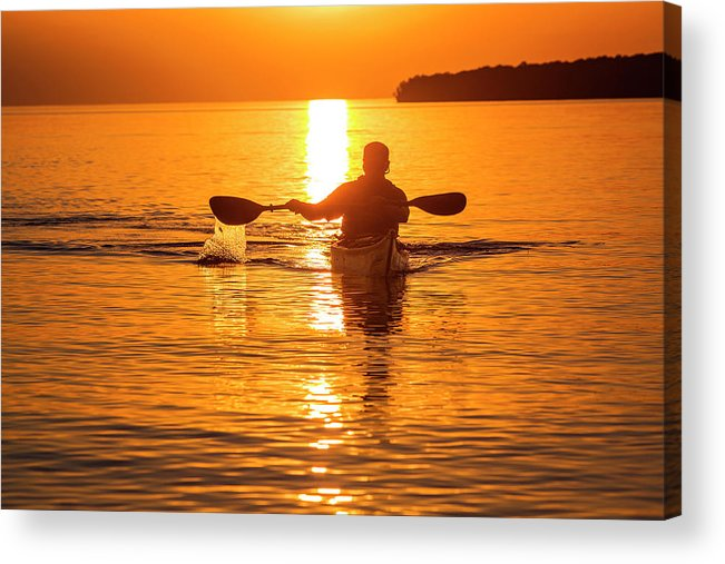 Apostle Islands National Lakeshore Acrylic Print featuring the photograph Kayaking At Sunset In The Apostle by Chuck Haney