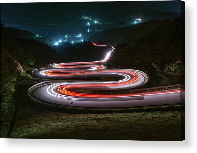 Zigzag Acrylic Print featuring the photograph Light Trails Of Cars On The Zigzag Way by Tokism