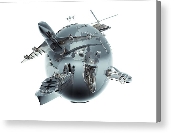Artificial Acrylic Print featuring the photograph Metallic Globe With Different Forms Of by Coneyl Jay