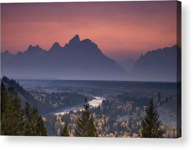 Mountain Acrylic Print featuring the photograph Misty Teton Sunset by Andrew Soundarajan