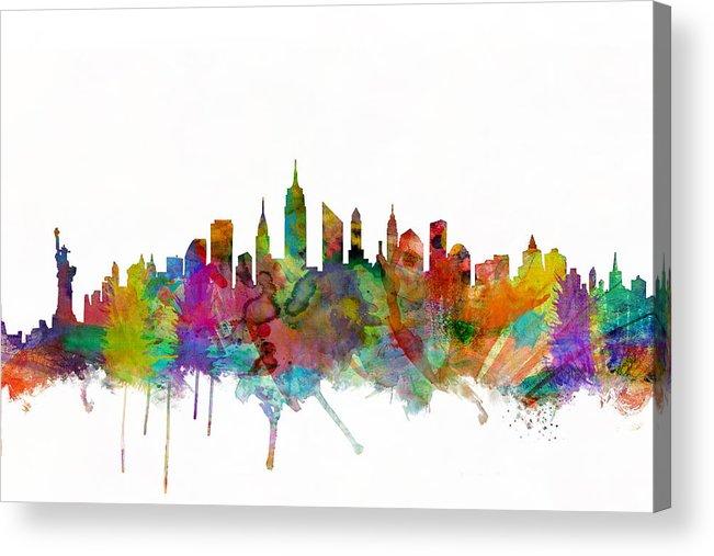 New York Acrylic Print featuring the digital art New York City Skyline by Michael Tompsett